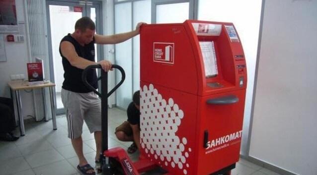 Перевозка банкомата с помощью роклы