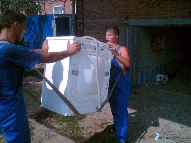 Перенос стиральной машины на ремнях